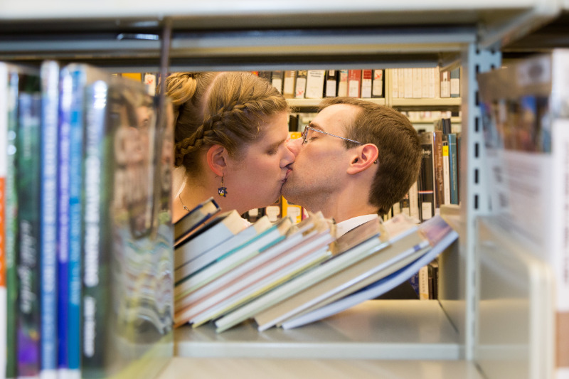 A booklover's library wedding (with special appearances by Sonic the hedgehog)