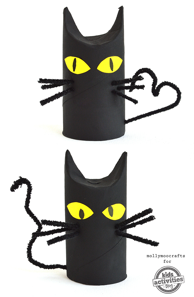 Spooky Halloween Toilet Roll Black Cats Craft for Kids