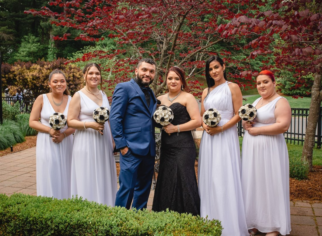 When the bride's in a black wedding dress with bridesmaids in white!